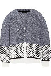 Alexander Wang Color Block Open Knit Cardigan Black