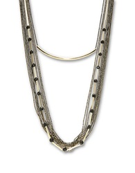 A.B.S. By Allen Schwartz Layered Rhinestone Chain Necklace Gold