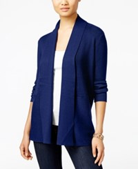 Jm Collection Petites Petite Open Front Ribbed Cardigan Only At Macy's Bright Sapphire