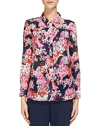 Whistles Floral Print Cotton Voile Shirt Pink Multi