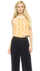 3.1 Phillip Lim Jacquard Crop Top White Yellow