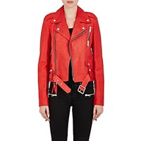 Unravel Project Srl Women's Leather Biker Jacket Red
