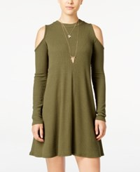 Planet Gold Juniors' Rib Knit Cold Shoulder Dress Green