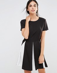 Daisy Street Skater Dress With Pleats Black White