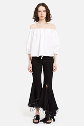 Marques Almeida Low Rise Cropped Frayed Jeans Shiny Black