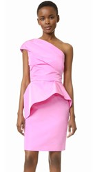 Monique Lhuillier One Shoulder Peplum Dress Rose