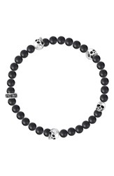 King Baby Studio Men's Onyx And Skull Bead Bracelet