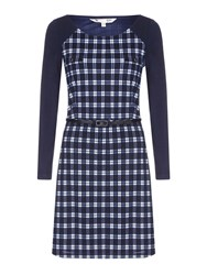 Yumi Black Knitted Check Belt Dress Navy