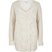 River Island Womens Cream Cable Front Knit Jumper