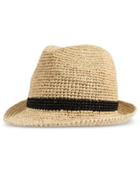 Levi's Men's Crushable Raffia Straw Fedora Tan Black