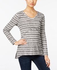 Styleandco. Style Co. Striped V Neck Top Only At Macy's Black Ivory Combo