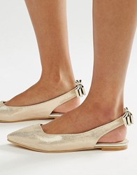 Lost Ink Bethany Gold Sling Back Flat Shoes Gold