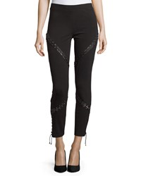 Haute Hippie Skinny Ankle Pants W Lacing Black