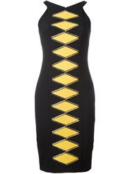 Versace Collection Geometric Print Fitted Dress Black