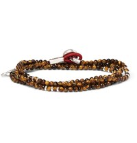 Isaia Saracino Tiger's Eye And Silver Wrap Bracelet Brown