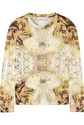 Prabal Gurung Printed Jersey Top Metallic