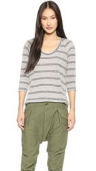 Stateside Striped Shirttail Raglan Tee Heather Grey Stripe