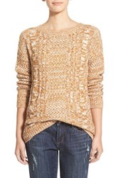 Junior Women's Bp. Cable Knit Pullover Brown Sienna Siro Marl