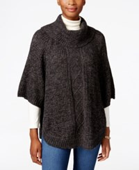 Karen Scott Cable Knit Cowl Neck Poncho Only At Macy's Black Ash Marl