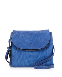 Charles Jourdan Wilson Snake Embossed Leather Crossbody Bag Cobalt