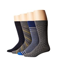 Cole Haan 4 Pack Dress Gift Boxes Charcoal Heather Charcoal Heather Navy Rainstorm Men's Crew Cut Socks Shoes Multi
