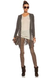 Theperfext Christy Fringe Suede Jacket In Gray