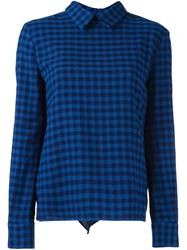 Golden Goose Deluxe Brand Ruffled Back Checked Shirt Blue