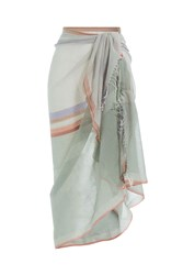 Christophe Sauvat Cotton Wrap With Striped Trim Green