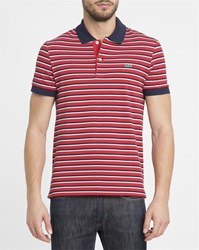 Lacoste Red And White Striped Crocodile Logo Regular Fit Polo Shirt