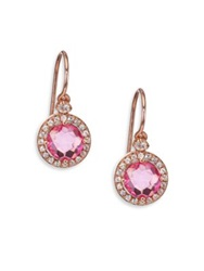 Suzanne Kalan Pink Topaz White Sapphire And 14K Rose Gold Drop Earrings