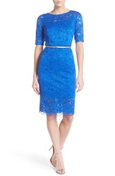 Women's Ellen Tracy Belted Lace Sheath Dress Cobalt