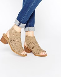 Truffle Collection Honor Laser Cut Sling Bootee Heeled Sandals Taupe Mf Beige
