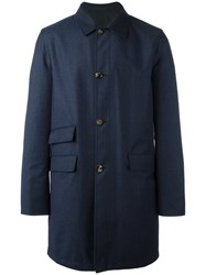 Kiton Reversible Prince Of Wales Coat Blue