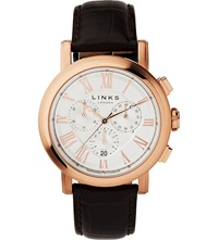 Links Of London Richmond Rose Gold Plated Chronograph Watch White