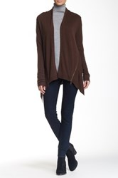 Cullen Side Zip Open Drape Cashmere Cardigan Brown