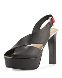 Cnc Costume National Peep Toe Slingback Platform Sandal Black Red