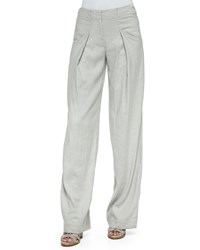 Donna Karan Pleated Relaxed Linen Blend Pants Pltnum
