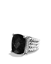 David Yurman Wheaton Ring With Black Onyx And Diamonds Silver