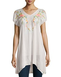 Johnny Was Short Sleeve Embroidered Long Tunic Blush