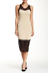 Alexia Admor Romantic Lace Scuba Sheath Dress Beige