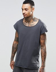Asos Oversized Sleeveless T Shirt With Raw Scoop Neck In Washed Black Washed Black Grey