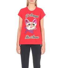 Gucci Cat Embroidered Cotton Jersey T Shirt
