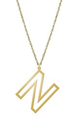 Women's Jane Basch Designs Varsity Initial Pendant Necklace Gold N