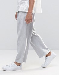 Asos Wide Cropped Trouser In Pinstripe Grey