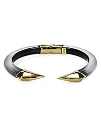Alexis Bittar Lucite Mirrored Pyramid Brake Hinge Bangle Black