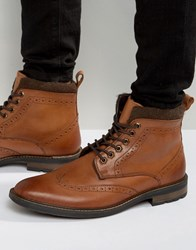 Dune Lace Up Brogue Boots Tan Leather Tan
