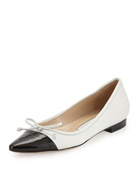 Manolo Blahnik Wendy Pointed Toe Ballerina Flat White Black Women's