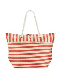 Capelli Of New York Cappelli Rope Handle Nautical Stripe Straw Tote Bag Red White