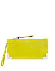 Pinko Canestro Leather Clutch Yellow