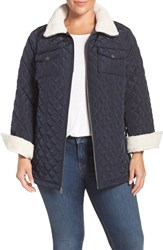 Lucky Brand Plus Size Women's Faux Shearling Trim Zip Front Jacket Navy